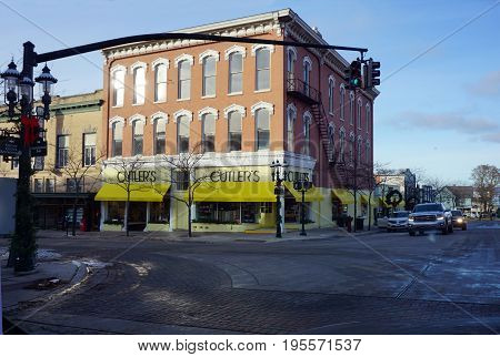 PETOSKEY, MICHIGAN / UNITED STATES - NOVEMBER 22, 2016: One may purchase gifts and kitchenware at Cutler's, at the corner of Howard and Lake Streets in downtown Petoskey.