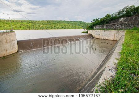 Dam water releaseThe excess capacity of the dam until spring-way overflows.