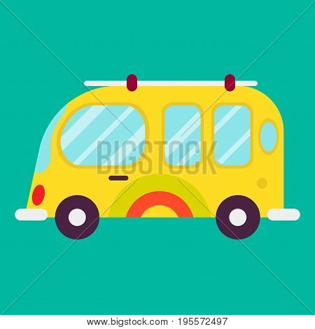 Hippie bus isolated on green background vector poster in graphic design. Closeup illustration in flat style of colorful and bright transportation mean on wheels with windows and doors for traveling