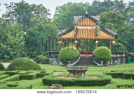 Traditional vietnamese pavilion in the imperial city, Hue, Vietnam