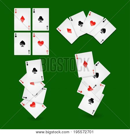 Playing cards combinations for casino poker or solitaire game. Vector card decks of suits ace hearts, clubs or diamonds and spades on green gambling table background