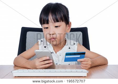Asian Chinese Little Girl Making Online Payment