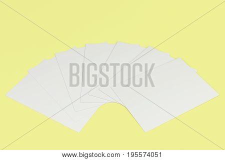 Blank White Flyer Mockup On Yellow Background
