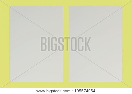 Two Blank White Flyers Mockup On Yellow Background