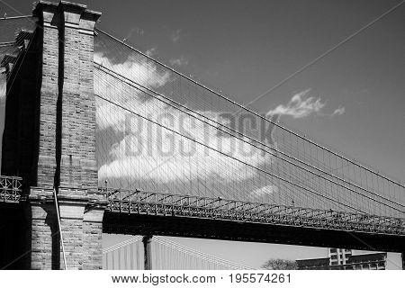 Ancient Brooklyn Bridge New York - an iconic landmark- MANHATTAN - NEW YORK