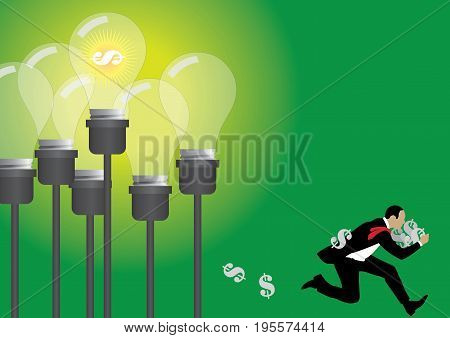 An illustration of businessman stealing dollar sign form light bulb