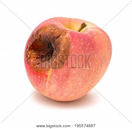 rotten apple with a big hole on white background