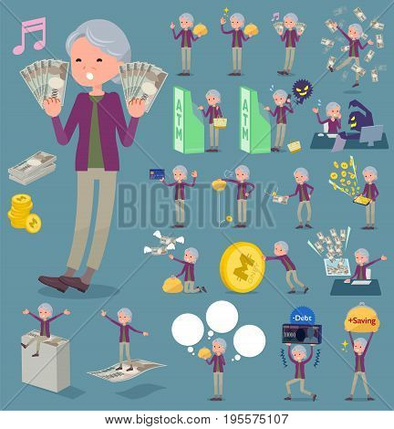 Flat Type Purple Clothes Grandmother_money
