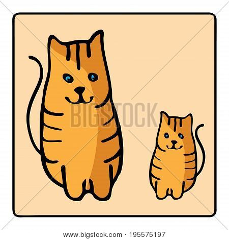 Cute orange red-headed cats. Kids illustration with domestic animal. Lovely pet. Hand drawn illustration perfect for gift cards post cards greeting cards t-shirts and other designs.