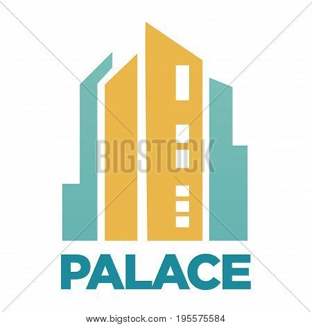 Palace hotel or residential house building. Vector flat icon for real estate agency or construction company logo template or label