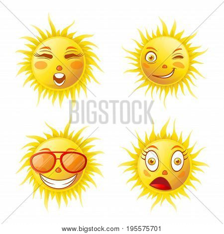Sun smiles or summer cartoon emoticons and happy emoji faces with expressions. Vector isolated icons of shining suns smiling in sunglasses, winking or shocked surprised