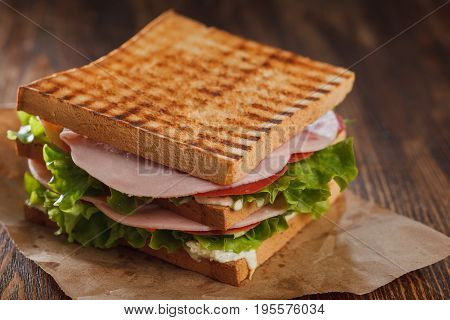 Double Sandwich With Ham. Stock Image