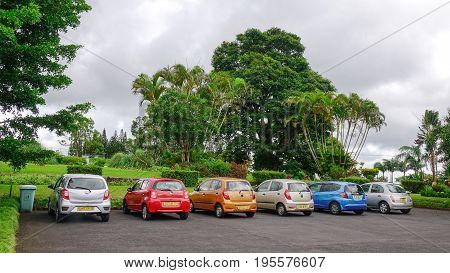 Parking Lot At The Botanic Garden In Mauritius