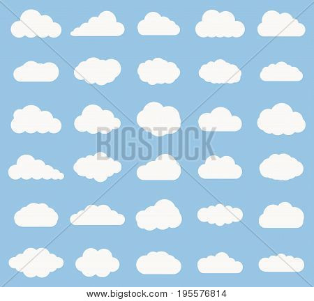 Set of Cloud icon white color on blue background. Cloud sky vector illustration collection for web art and app design. Different cloudscape weather symbols.