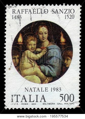 ITALIA - CIRCA 1983: A stamp printed in Italia shows Madonna and Child, painting by italian artist Raphael Sanzio, christmas, circa 1983