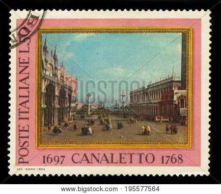 ITALIA - CIRCA 1968: A stamp printed in Italia shows The Piazzetta, Venice, painting by italian artist Antonio Canal, known as Canaletto, circa 1968