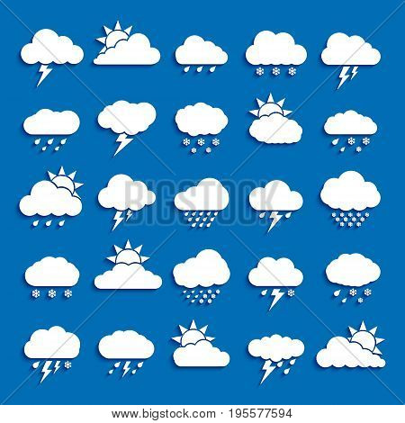 Set of Weather Cloud Icon White Color on blue background. Cloud Sky Vector Illustration Collection for Web Art and App Design. Different Cloudscape Weather Symbols.