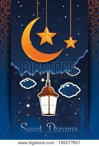 Sweet Dreams concept design. Glowing lantern in the night sky against the backdrop of a fairytale city. Vector illustration