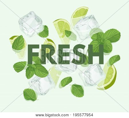 Fresh letter with mojito cocktail. Summer sale vector label. Lemonade lettering. Illustration with mint, ice cube and lime. Summertime poster. For t-shirt, fashion, prints, banner or packaging design