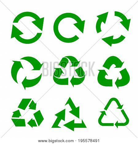 Recycled eco vector icon set. Recycle arrows ecology symbol. Recycled cycle arrow. Vector illustration isolated on white background