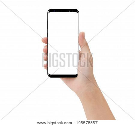 close-up hand touching phone mobile isolated on white mock-up smartphone blank screen easy adjustment with clipping path