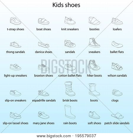 Kids shoes, set, collection of fashion footwear with names. Baby, girl, boy, child, childhood. Vector design isolated illustration. Black outlines, blue background
