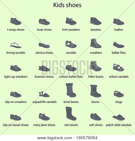 Kids shoes, set, collection of fashion footwear with names. Baby, girl, boy, child, childhood. Vector design isolated illustration. White outlines, gray silhouettes, green background