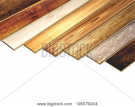 Planks of new oak parquet of different colors. Isolated on white background. 3d render