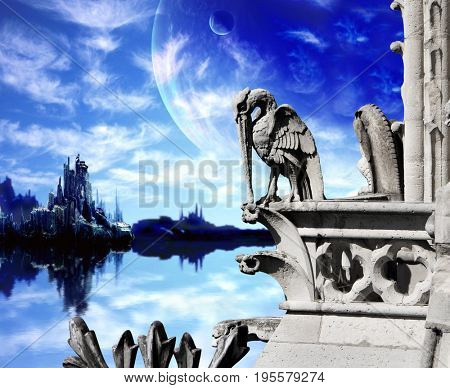 Beautiful fantasy landscape with  plants, ocean, high mountains, sky and old stone statue of pelican. 3d render. Elements of this image furnished by NASA