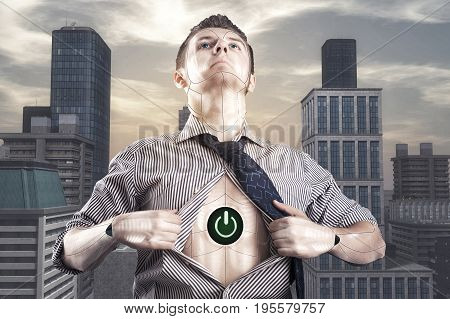 Businessman loosen shirt showing that he is cyborg in a city background.