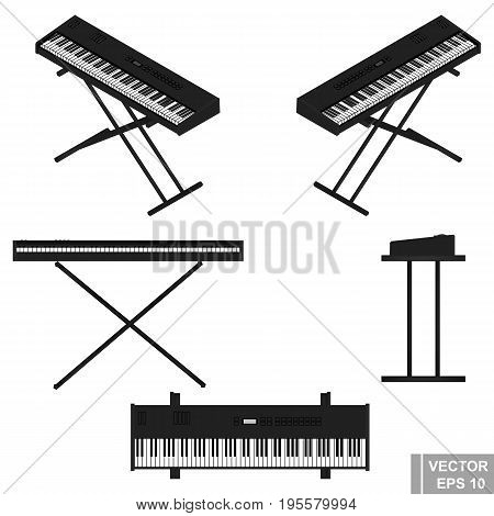 Synthesizer. Set. The Black. Musical Instrument. Isolated On White Background.