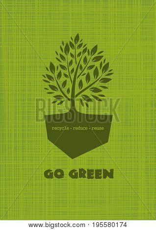 Logo concept design with a tree on an abstract green background. Go Green. Recycle reduce reuse. Vector illustration isolated on white background