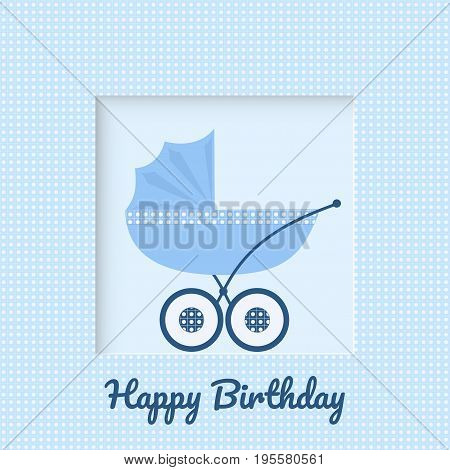 Baby carriage on blue background in a box greeting card for newborn baby