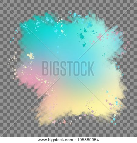 Vector watercolor splash with transparent edges. Abstract background with drips, stains and spots