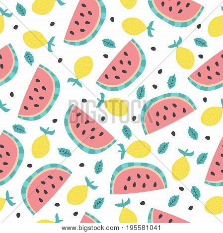 Seamless vector pattern with watermelon, lemon and mint. The summer mood!