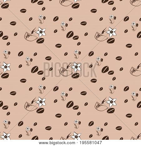Cup of coffee with grains flower on a brown background. Seamless pattern