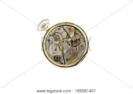 Old clockwork details, pinions and wheels macro closeup isolated on white