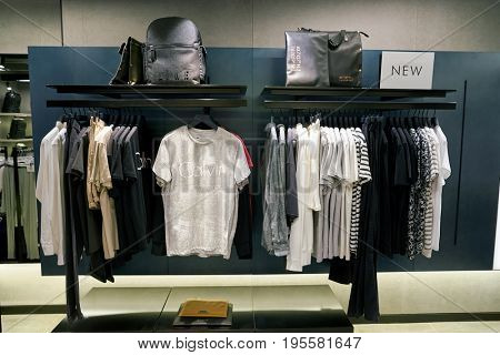 SEOUL, SOUTH KOREA - CIRCA MAY, 2017: clothing on display at a Calvin Klein Jeans store in Seoul.