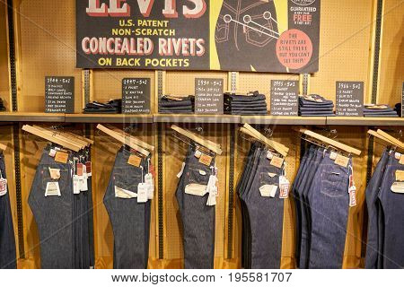 SEOUL, SOUTH KOREA - CIRCA MAY, 2017: jeans on display at a Levi's store in Seoul.