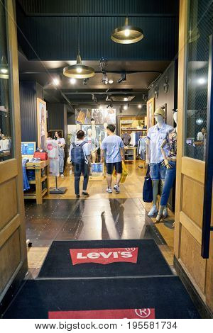 SEOUL, SOUTH KOREA - CIRCA MAY, 2017: a Levi's store in Seoul. Levi Strauss & Co. is a privately owned American clothing company known worldwide for its Levi's brand of denim jeans.
