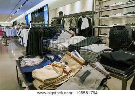 SEOUL, SOUTH KOREA - CIRCA MAY, 2017: clothing on display at a Zara store in Seoul. Zara is a Spanish clothing and accessories retailer