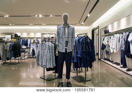 SEOUL, SOUTH KOREA - CIRCA MAY, 2017: inside a Zara store in Seoul. Zara is a Spanish clothing and accessories retailer