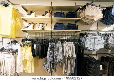 SEOUL, SOUTH KOREA - CIRCA MAY, 2017: clothing on display at H and M store in Seoul. H & M Hennes & Mauritz AB is a Swedish multinational clothing-retail company