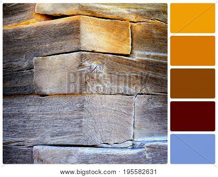 Corner of an old rural house. Colour palette with complimentary colour swatches