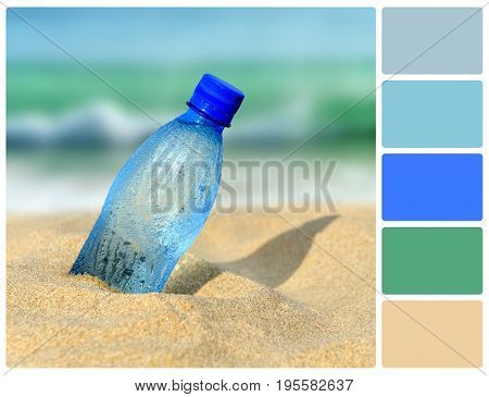 Water bottle on beach. Colour palette with complimentary colour swatches
