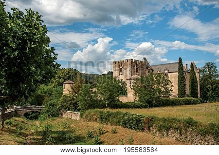 Panoramic view of Allemagne-en-Provence Castle, near the village of the same name. Located in the Alpes-de-Haute-Provence department, Provence-Alpes-Côte d'Azur region, southeastern France