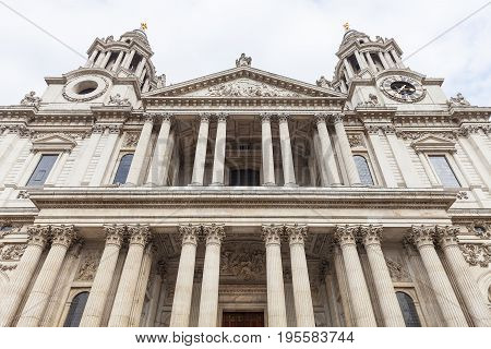 18th century St Paul Cathedral London United Kingdom. It is an Anglican monumental cathedral the seat of the Bishop of London