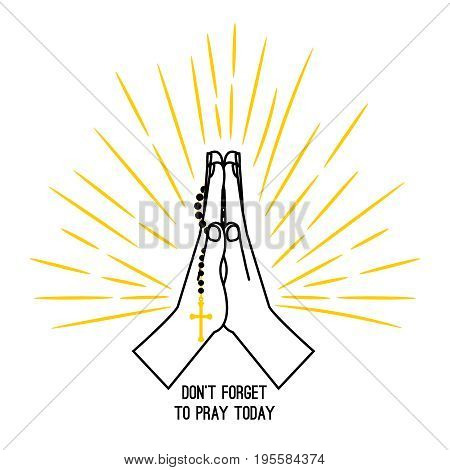 Hand drawn rosary praying vector poster isolated on white background. Christian church praying hands with prayer beads