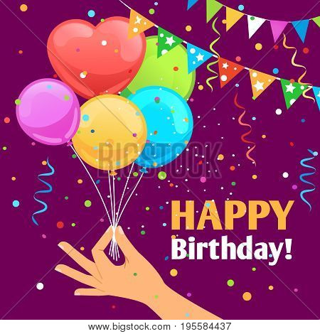 Happy birthday kids fun poster background with balloons. Hand gives air balloon gift greeting card vector design
