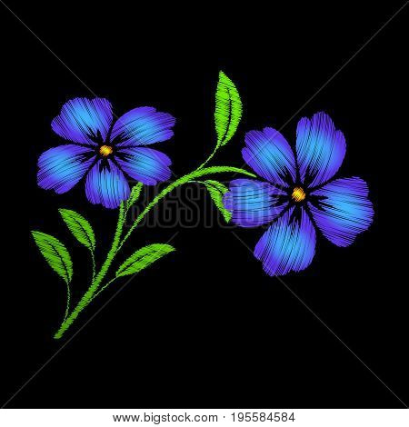 Embroidered blue flowers on black background Embroidered floral template with flowers for clothing design.